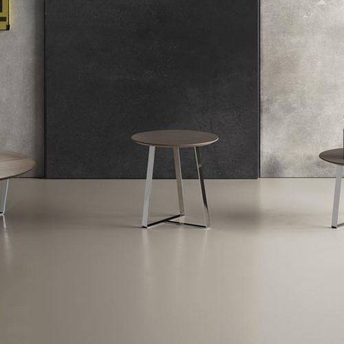 contemporary side table / painted metal / leather / round