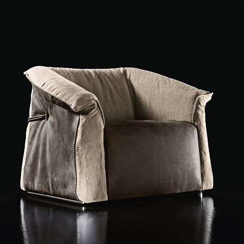 contemporary armchair / metal / leather