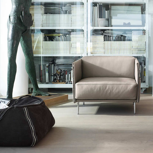 contemporary armchair / leather / chrome / with storage compartment
