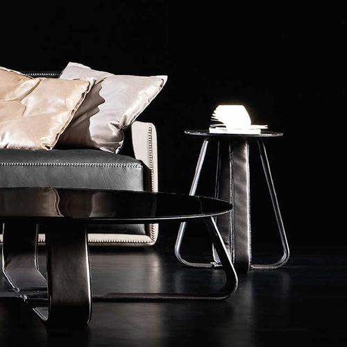 contemporary side table / stainless steel / leather / round