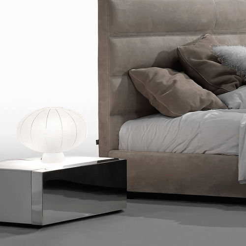 contemporary bedside table / stainless steel / leather / rectangular