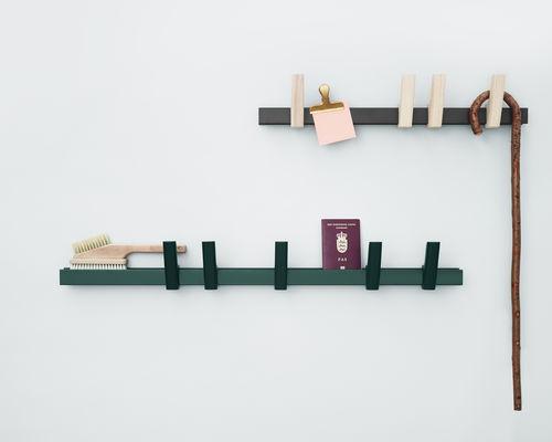 contemporary coat hook / aluminum / ash / quadruple