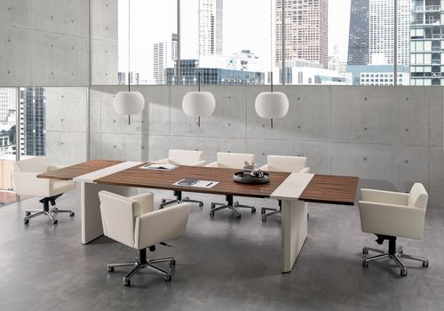 contemporary boardroom table / wood veneer / leather / rectangular