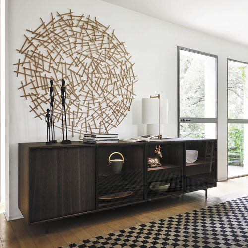 contemporary sideboard / oak / metal / with glass panel