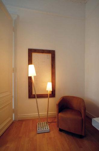 floor-standing lamp / contemporary / wooden / fabric