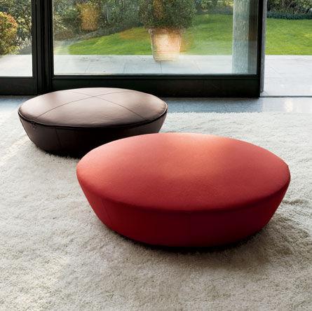 contemporary pouf / fabric / round / black