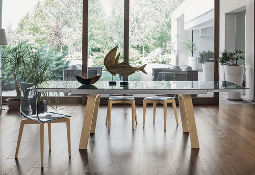 Contemporary dining table / tempered glass / painted metal / porcelain stoneware MARTE 180 Target Point New