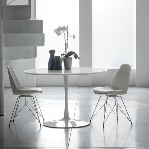 Contemporary dining table / lacquered MDF / tempered glass / painted metal FLUTE Target Point New