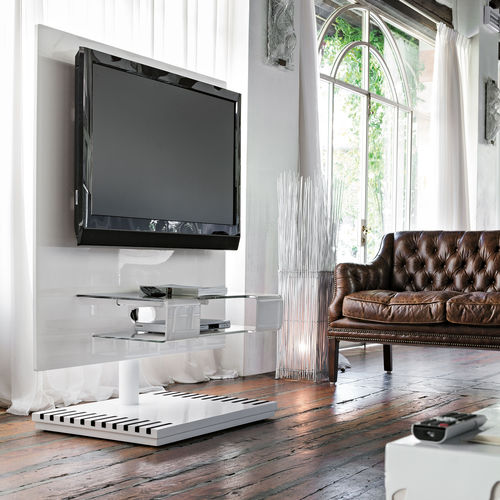 contemporary TV stand / swivel / glass / lacquered MDF