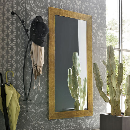 wall-mounted mirror / contemporary / rectangular / painted wood