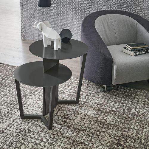 contemporary side table / painted metal / round / gray
