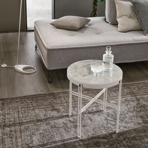 contemporary side table / painted metal / porcelain stoneware / round