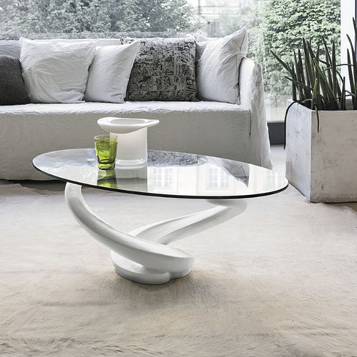 Contemporary coffee table / glass / tempered glass / oval TANGO Target Point New