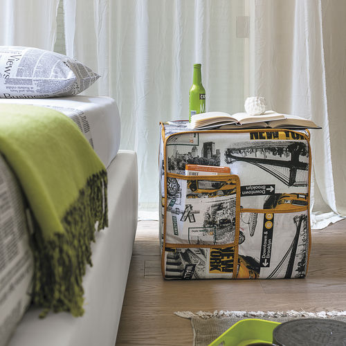 contemporary pouf / fabric / square / with storage compartment