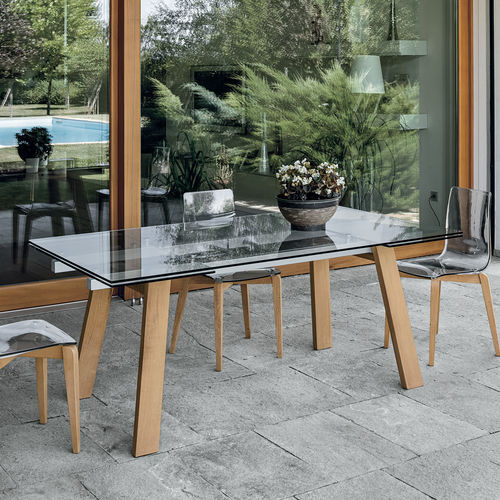 Contemporary dining table / wooden / tempered glass / painted metal GIOVE 180 Target Point New