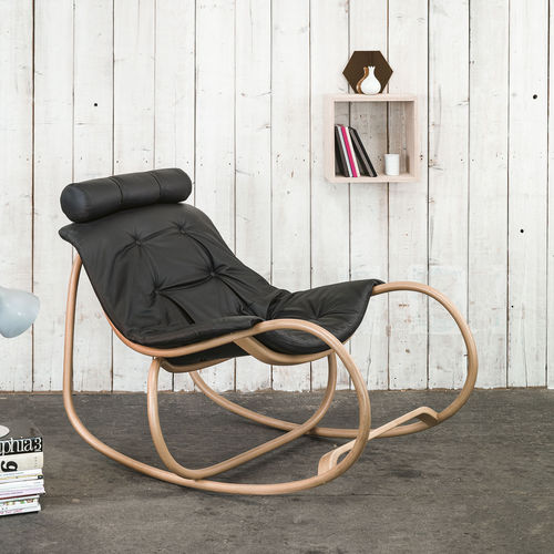 traditional armchair / fabric / leather / beech