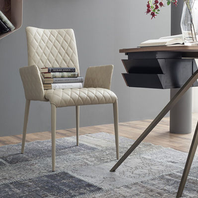 contemporary chair / with armrests / metal / leather