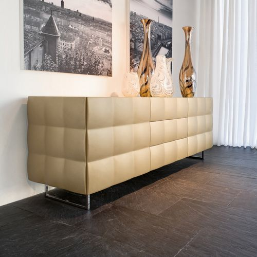 contemporary sideboard / wooden / tempered glass facing / lacquered MDF