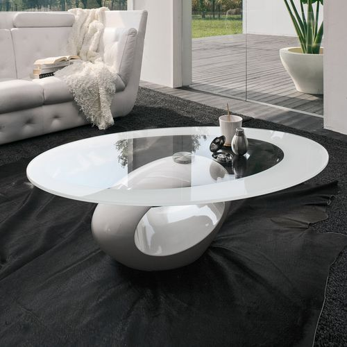 contemporary coffee table / marble / tempered glass / oval