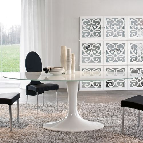 contemporary dining table / marble / tempered glass / oval