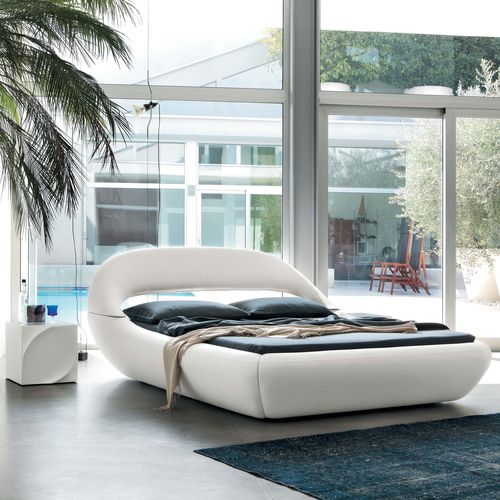 double bed / contemporary / upholstered / leather
