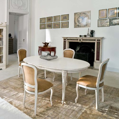 traditional dining table / wooden / curved / white