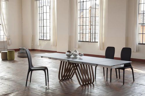 contemporary dining table / wooden / glass / marble