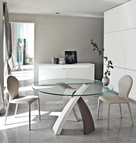 contemporary dining table / wooden / steel / tempered glass