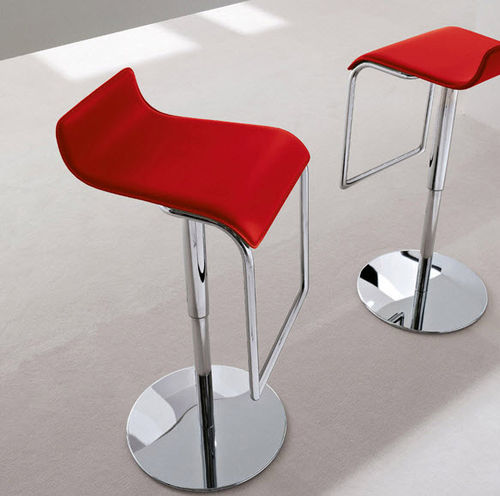 contemporary bar stool / leather / chromed metal / swivel