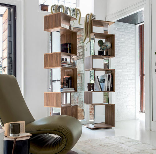 contemporary bookcase / lacquered MDF / rotating