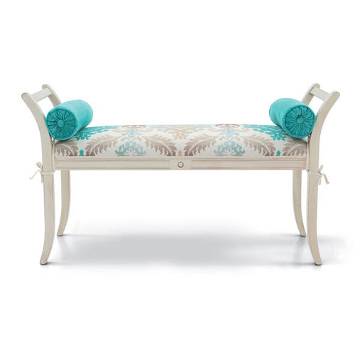 traditional upholstered bench / fabric / leather / wooden