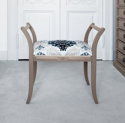 traditional stool / wooden / leather / fabric