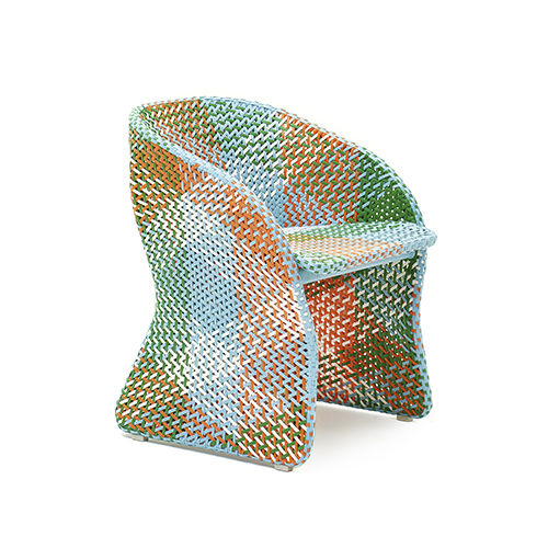 contemporary garden chair / with armrests / aluminum / synthetic fiber