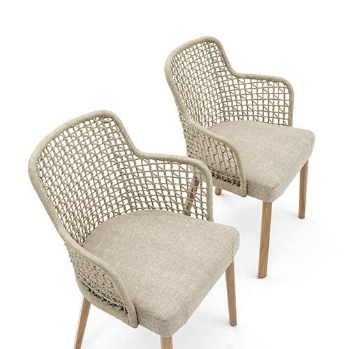 contemporary garden chair / with armrests / upholstered / aluminum