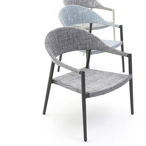 contemporary armchair / aluminum / PVC / with removable cushion
