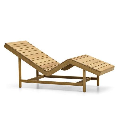 contemporary sun lounger / teak / garden / reclining