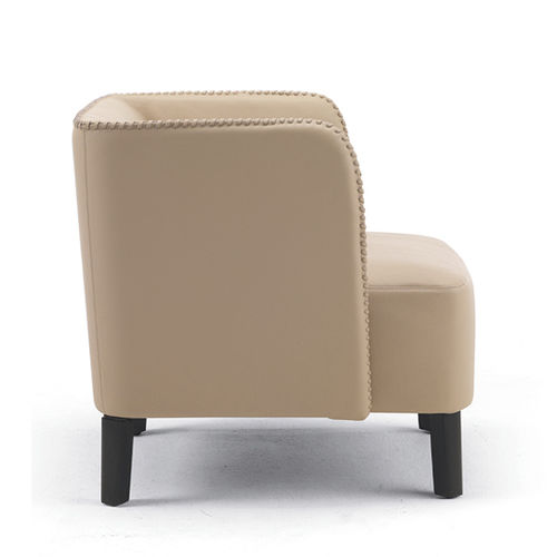 contemporary armchair / leather / beige / for public buildings