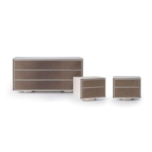 contemporary chest of drawers / lacquered wood / leather / fabric