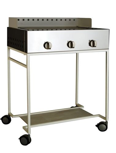gas barbecue / on casters / stainless steel