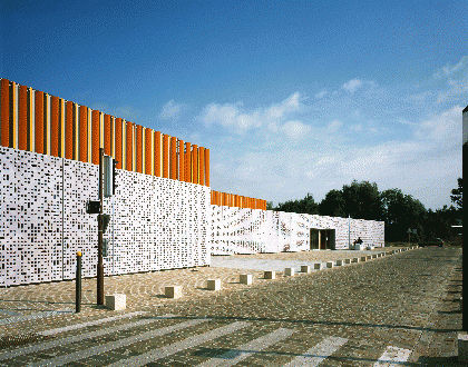 fiber-reinforced concrete solar shading / for facades / perforated