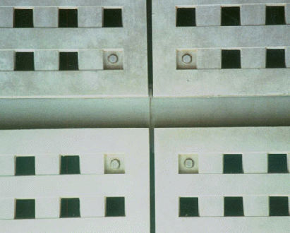 wall-mounted acoustic panel / cement-glass composite / perforated / commercial