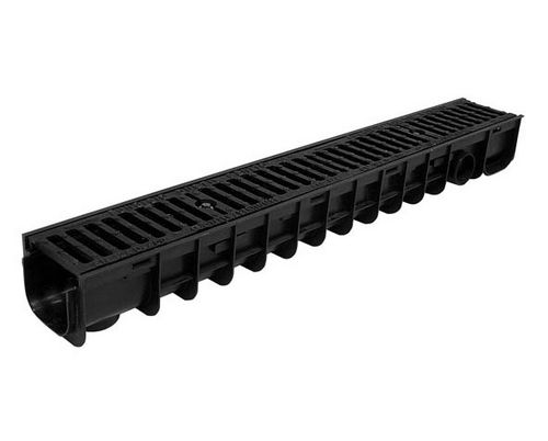 public space drainage channel / cast iron / polypropylene / with grating