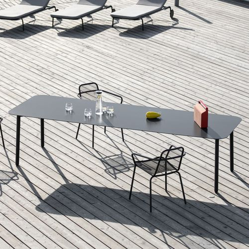 contemporary table / stainless steel / HPL / ceramic