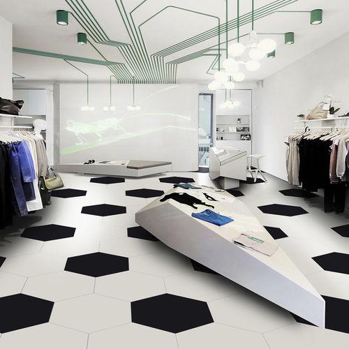 indoor tile / floor / porcelain stoneware / hexagonal