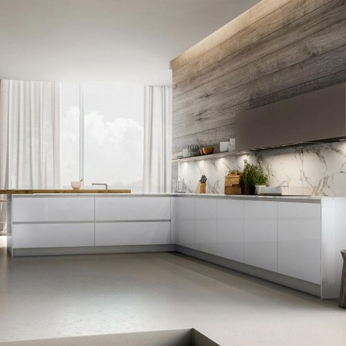 contemporary kitchen / lacquered wood / L-shaped / handleless