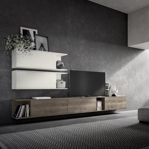 contemporary TV wall unit / wood veneer / melamine