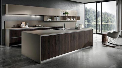 contemporary kitchen / wooden / melamine / island