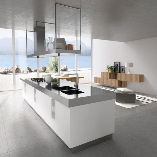 contemporary kitchen / wooden / melamine / island