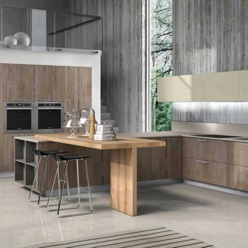 contemporary kitchen / wooden / U-shaped / with handles