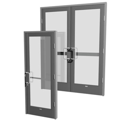 entry door / swing / aluminum / for public buildings